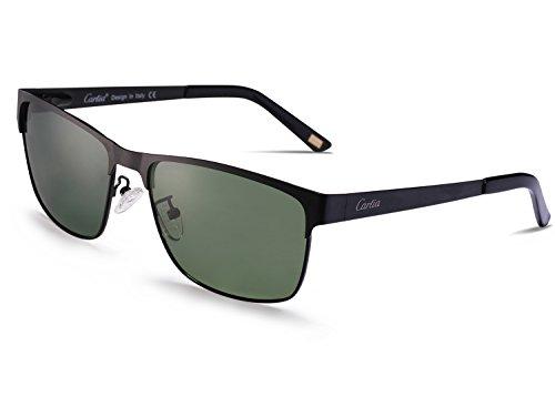 Carfia Polarisierte Herren Sonnenbrille Modische Metallrahmen Fahrer Sonnenbrille 100% UV400 Schutz für Golf, Autofahren, Outdoor Sport, Angeln (Gestell: Schwarz, Gläser: Grün - 2)