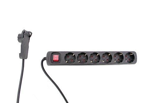 REV Ritter regleta de enchufes con plano conector, 6-compartimiento, con interruptor, 2 M