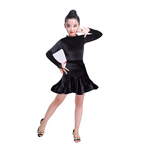 Yocobo Tanzkleid Kinder Mädchen Latin Dance Kleid Langarm Rumba Samba Ballsaal Dancewear Party Dance Professionelle Split Art Kleid Anzug Performance Wettbewerb Tanzkostüm Gymnastikanzug