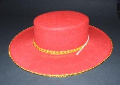 Unbekannt Flamenco rot/Gold Filz Hut Hüte Kostümzubehör - Sombrero Gold