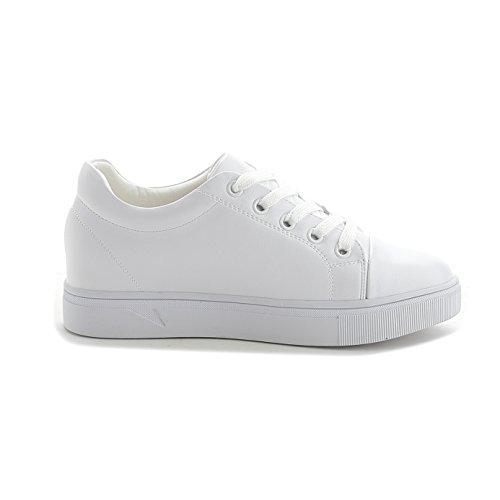 Sportliche Damen Sneakers Low Turnschuhe Flats Schnürer Freizeit Schuhe Weiß
