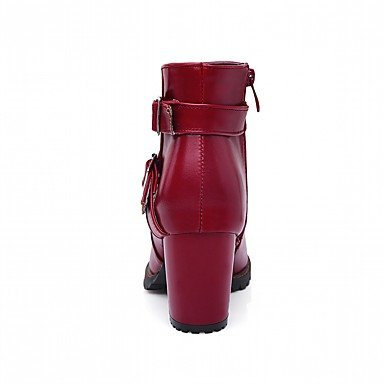 Best 4U® Da donna Scarpe Finta pelle PU (Poliuretano) Autunno Inverno Comoda Innovativo Stivali Stivaletti Quadrato Punta tonda red