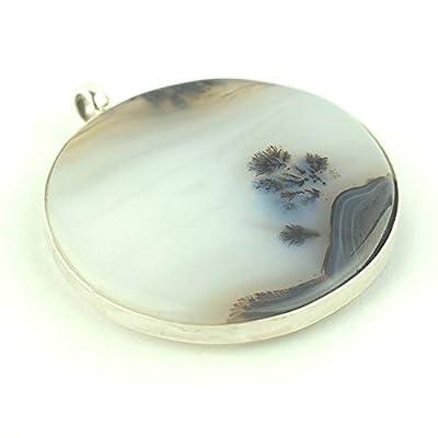 Pendentif Agate Dendritique serti d'argent 925, 38x38x7 mm