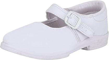 Pollo Girls White School Shoe