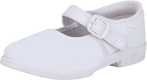 Pollo Girls White School Shoe