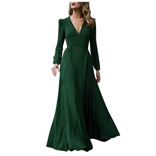 GATIK Damen Langarm Elegante Kleider Herbst Winter Einfarbig Club Kleid Lace Up V-Ausschnitt Party Abendkleid Damen Lange Maxikleider(M,Grün)