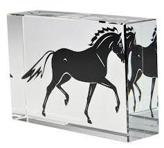 """happyross Glas Cube """"Hengst–Kristall Klar Glas Ornament/Papier Gewicht–Druck von beiden Seiten gesehen–Pferd Bild in Glas Block"""