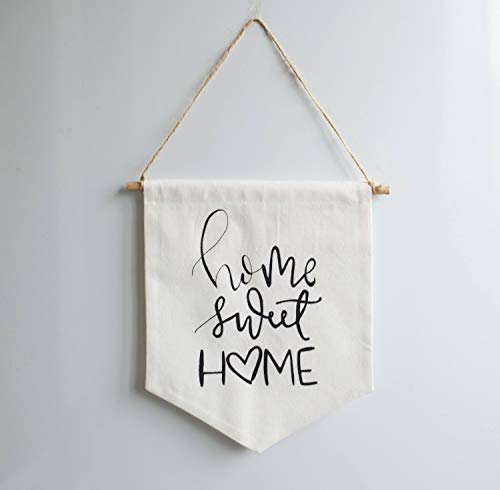 Home Sweet Home Quotes Canvas Banner Textile Wall Hanging Wall Monogram New Home Gift Our First Home Decal New Home Ornament Home Signage 10 x 8 Inch Banner Flag (Signage Happy Birthday)