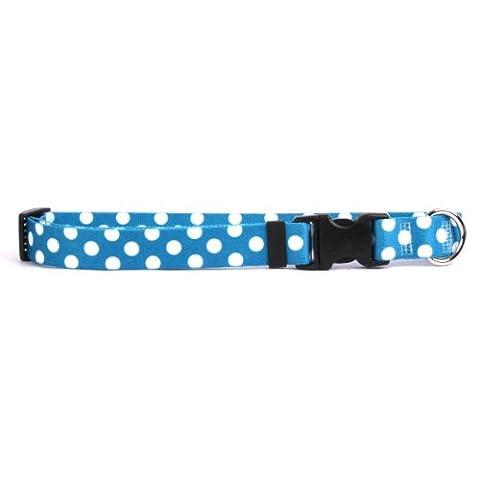 Yellow Dog Design Collier pour chien Motif pois–avec système Tag-a-long étiquette d'identification