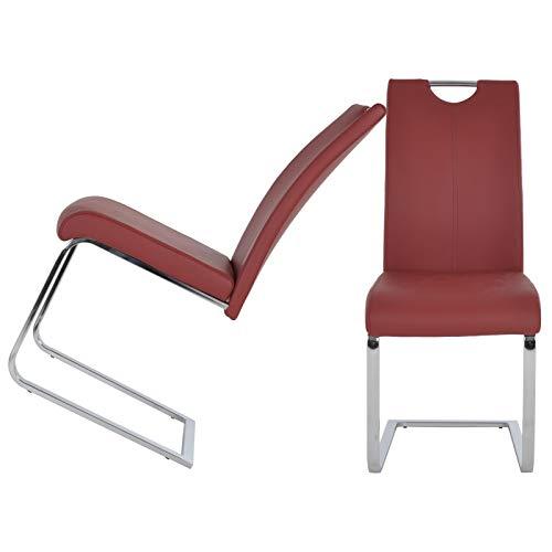 MACOShopde by MACO Möbel 2er Set Freischwinger aus Kunstleder in rot - Esszimmerstühle mit verchromtem Metallgestell und Griff
