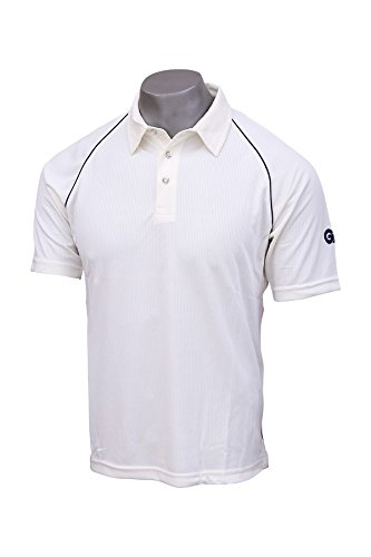 GM 1600578 Polyester Cricket Shirt, Size 32 (White/Navy)