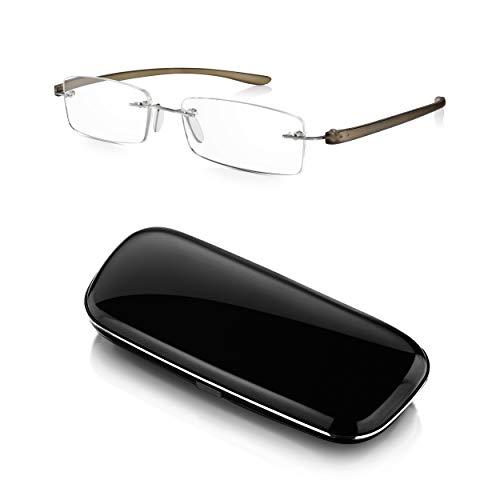 Read Optics Herren/Damen Lesebrille mit Etui +2,0 Dioptrien: Patentiertes stabiles Design ohne Rahmen, das Auseinanderfallen verhindert. Mit leichten biegbaren grauen Bügeln und schwarzem Hardcase