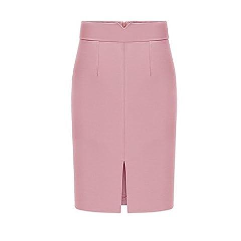 Baryao Frauen Bleistiftrock Bergroße Elegante Kinelang Hohe Taille Rock Mode Frühling Herbst Deman Bodycon Kleider (S, pink)