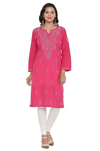 ADA Handicraft Lucknowi Chikankari Regular Wear Cotton Kurta Kurti A197544