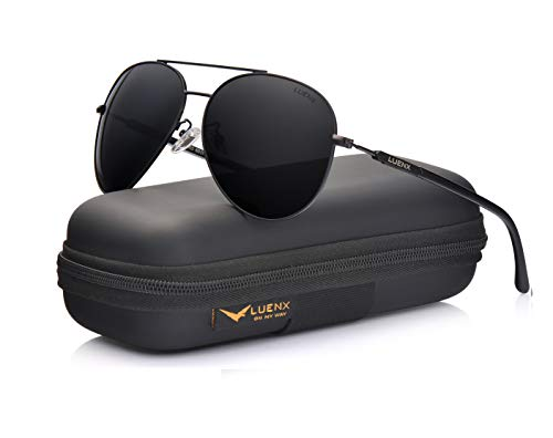 b7c3f4555b LUENX Mens Sunglasses Polarized Womens with Case - UV 400 Protection Black  Lens Black Frame 60mm
