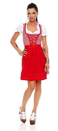 Fashion4Young Dirndl 3 TLG.Trachtenkleid Kleid Mini Bluse Schürze Trachten Oktoberfest (34, Rot-Weiß)