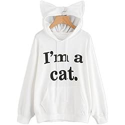 SIMYJOY Mujer Sudadera con orejas de gato Sudadera con capucha con gatito sudadera con suelta blanco S