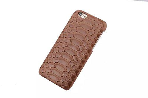 iPhone 6/6S Caso, Moda Snakeskin Texture + VERA PELLE + slim PC Shell per iPhone 6/6S (Nero) Marrone