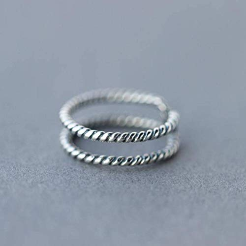 K - Rings S925 Silberring Weiblichen Retro Nationalen Thai Silber Doppel Twist Ring Ring Offenen Zeigefinger Ring, S925 Silberring