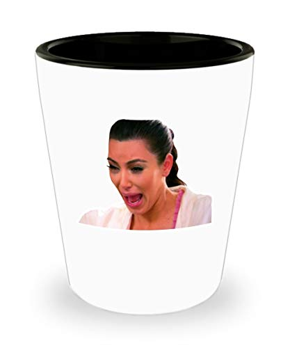 Kim Kardashian Crying Meme Shot Glass Mug Cup (White) 11oz Funny Kim K Keeping Up With The Kardashians KUWTK Gift Merchandise Accessories Decal Stick