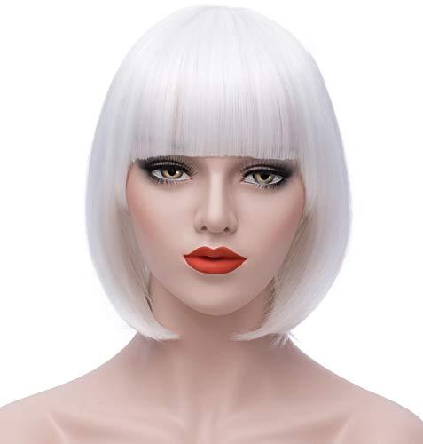 Milrüme Perücke Weiß Kurze Bob Damen Haar Perücken Gerade mit Flach Pony Synthetische Bunte Cosplay Tägliche Party Perücke für Frauen Natürliche Wie Wig 12 Zoll 002G -