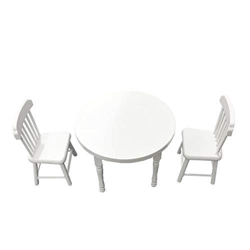 Mini Meubles de Maison de Poupée,1:12 Table et chaises Ronde Blanche Meubles Cabinet Miniature Salon Enfants Jouet 3pcs
