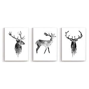 Wandposter Poster Wandbild Schwarz Weiss Wanddruck Edel - Für Wohnzimmer Schlafzimmer Arbeitszimmer Din A4 3er-Set Hirsch (ohne Rahmen)