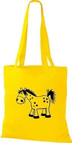 shirtstown Borsa di stoffa animale cavallo pony Giallo