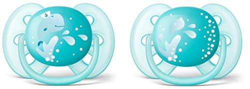 Philips Avent Ultra soft Schnuller 6-18 Monate SCF226/22, Doppelpack, Jungen, Wal/Wasser -