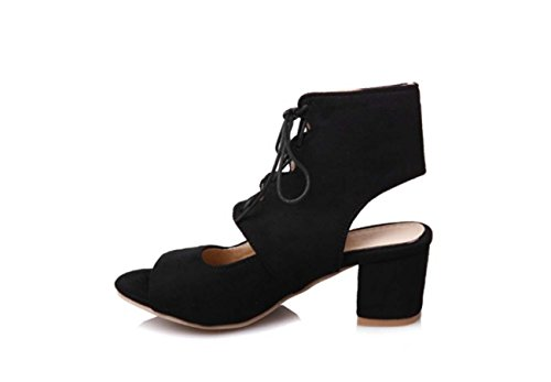 NobS Donne Cinghie Alta Superiore Boots Large Size 40-43 Camoscio Tacco Medio Scarpe A Punta Aperta Black