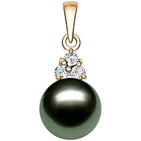 14 K amarillo oro calidad AAA negro colgante de perla cultivada Tahití con diamantes