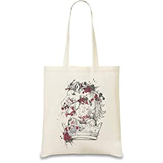 Frauen Art Pferdekrone - Horse Crown Custom Printed Tote Bag| 100% Soft Cotton| Natural Color & Eco-Friendly| Unique, Re-Usable & Stylish Handbag For Every Day Use| Custom Shoulder Bags By
