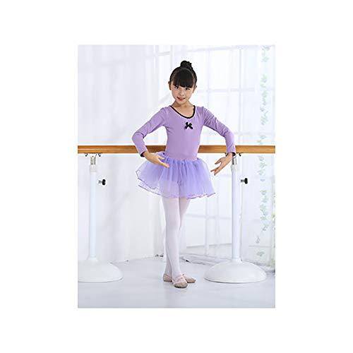 Tanzkleidung Kinder Tanzkleidung Mädchen Ballett Rock Übung Kleidung Flauschigen Rock Tanztest Kleidung lila Lange Ärmel für 140 cm groß