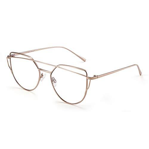 JIM HALO Katzenauge Blaues Licht blockieren Computer Brillen Damen Video Spiel Gläser, Reduzieren Auge Belastung Licht Gold