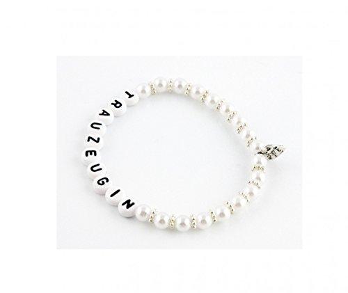 Perlenarmkettchen 'Trauzeugin' exklusiv, Farbe Kettchen:weiss