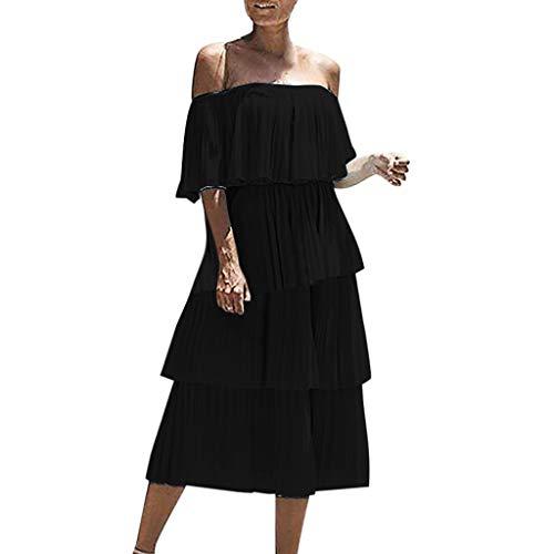Yvelands Damen Mode Kleid Chiffon Schulterfrei Rüschen Feste Abendgesellschaft Überlagertes Kleid(Schwarz,M)