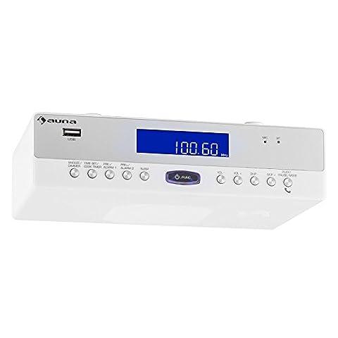 auna KR-100 WH Küchenradio Unterbauradio (UKW-Tuner, Bluetooth, MP3-fähiger USB-Port, Freisprechfunktion) weiß