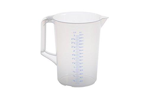 hünersdorff 3 Liter/3000 ml, Messkanne/Messbecher aus Polypropylen (PP) mit geschlossenem Griff und 2 Skalen, besonders temperaturbeständig, Made in Germany