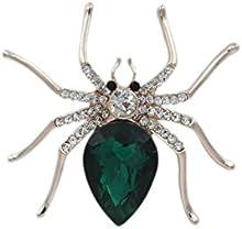 Totoroforet broche/Goujon Mujer Chapado de oro Zircon Magical Spider/araña ropa accessoires- verde esmeralda