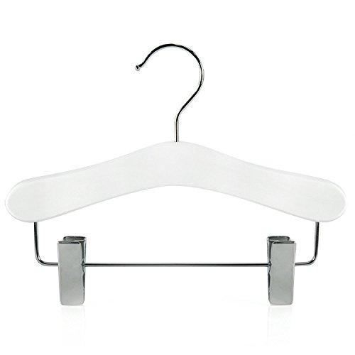 Hangerworld 6 Perchas para Niños 25cm Madera Blanca con Pinzas de Metal para Faldas y Pantalones