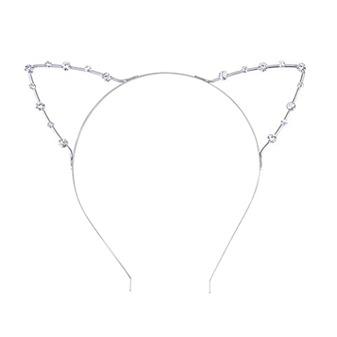 Femmes Girls Crystal Rhinestone Cat Ears Hairband Headband Head Hoop
