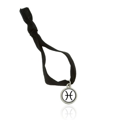 Zodiac Sign Pisces Bracelet Double Fold Over Stretchy Elastic No Crease Hair Tie With Charm