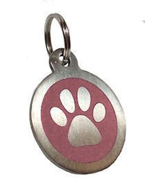 Personalised Engraved 32mm Stainless Steel Pink Paw Dog Pet ID Tag from County Engraving