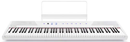 Alesis Recital White 88-Tasten Einsteiger Digital Piano / Keyboard mit vollwertigen halbgewichteten Tasten, Netzteil, eingebauten Lautsprechern und 5 Premium-Stimmen