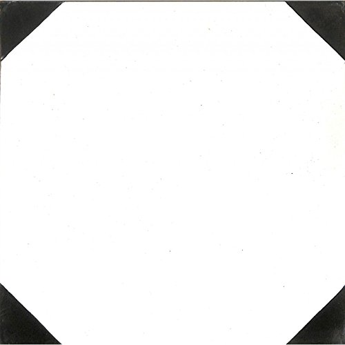 Zementfliesen Serie Via Campana, Musterfliese | Historischer Baustoff, Antik | Oktagonmuster Weiß/Schwarz | 20 x 20cm
