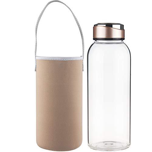 SHBRIFA Sports Glas Trinkflasche 1000ml / 1500ml / 1 Litre / 1.5 Litre, Borosilikat Glas Wasserflasche mit Neoprenhülle und Edelstahldeckel