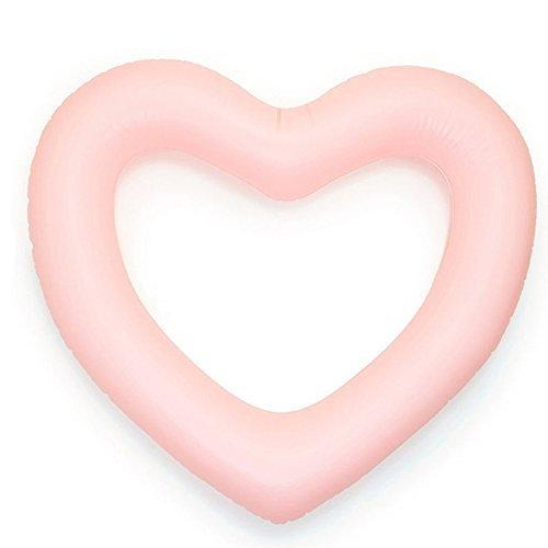 ED-Lumos aufblasbare Luftmatratze in Herzform Schwimmring Bett Schwimm Pool Schwebebett Float Spielzeug Schwimmende Matratze Rosa für Damen 111x115cm