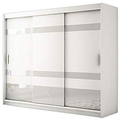 Kryspol Schwebetürenschrank Renato 2 250 Kleiderschrank mit Lacobel, Kleiderstange und Einlegeboden Schlafzimmer- Wohnzimmerschrank Schiebetüren Modern Design (Weiß + Weiß Lacobel)