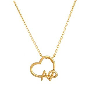 Love Alpha Phi Lavalier Necklace in Gold