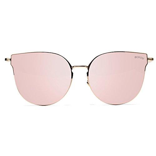 BOYOU Retro Vintage Sonnenbrille Mirrored Ultra Thin Ultra Light Metal
